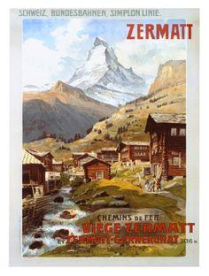 Solid-Faced Canvas Print Wall Art Print entitled Swiss Alps, Zermatt, Matterhorn, Vintage Poster, by Anton Reckziegel Zermatt, Retro Poster, Vintage Travel Posters, Anton, Wall Art Prints, Poster Prints, Travel Ads, Shopping Travel, Ski Posters