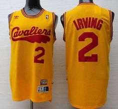 f4d1394867f Men s Cleveland Cavaliers  2 Kyrie Irving 2009 Yellow Hardwood Classics  Soul Swingman Throwback Jersey