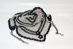 beige black crochet  Road Trip  scarf triangle by CrochetRagRug