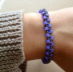 Beaded wrap bracelet neon purple with brass by braceletsNbeyond