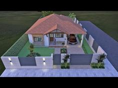 Planos de casa campestre en un piso de 132 Sims House Design, Village House Design, Bungalow House Design, Home Building Design, Building A House, Evergreen House, Affordable House Plans, 3d House Plans, Modern House Facades