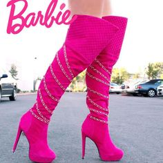 Strappy Chain Thigh High Heel Boots