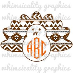 This product is a compressed zip of digital files (SVG, DXF, PNG) of our Aztec Pattern Turkey For Monogram graphic. It is includes solid