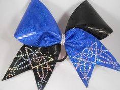 Cheer Bow Royal and Black Sparkle Mini Dot w silver Holographic bling on tailsby BlingItOnCheerBowz by BlingItOnCheerBowz on Etsy (null)