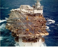 USS Enterprise CVAN 65 during the fire occurred on January I was in Pearl Harbor when the Enterprise came in after the accident. Us Navy Aircraft, Navy Aircraft Carrier, Military Aircraft, Military Weapons, American Aircraft Carriers, Navy Coast Guard, Uss Enterprise Cvn 65, Navy Carriers, Go Navy