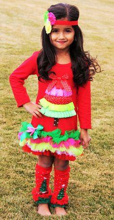 Christmas Multicolored Tutu Ruffle Tree Dress