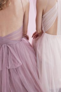 Tulle bridesmaid dresses in lavender and pink from BHLDN