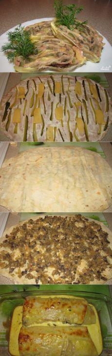 Запеченный рулет из лаваша - пошаговый кулинарный рецепт с фото на Повар.ру