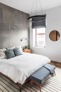 neutral bedroom, statement surfaces