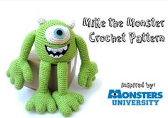 Mike Wazowski from Monsters University, free crochet pattern Crochet Amigurumi, Amigurumi Patterns, Crochet Dolls, Amigurumi Toys, Softies, Crochet Crowd, Free Crochet, Knit Crochet, Crochet Monsters