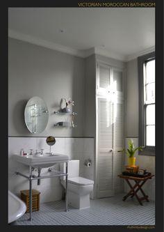 Interior by www.RhythmbyDesign.com  Farrow & Ball Plummet, Farrow & Ball Pavilion Gray, Spanish Encaustic Tile & Victorian Sink