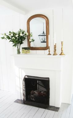 A Country Farmhouse: Guest House: After Photos - electric fireplace crafted to look old
