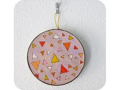 """""""Triangle Celebration Circle Ornament"""" by #katnawlins on #etsy, $8.00 - #holidays #ornament #gift #art #triangles #geometric #purple #colorful #shapes #funky"""
