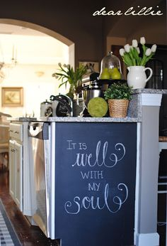 Love the chalkboard wall in this kitchen from Holmes - Dear Lillie kitchen chalkboard - DIY @ Craft's Kitchen Chalkboard, Framed Chalkboard, Chalkboard Ideas, Chalkboard Sayings, Chalkboard Lettering, Blackboard Art, Chalk It Up, Chalk Board, Do It Yourself Inspiration