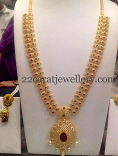 [ Cz Stones Mango Haram Golden Picks Mango ] - Best Free Home Design Idea & Inspiration Gold Earrings Designs, Gold Jewellery Design, Necklace Designs, Gold Designs, Indian Jewelry Sets, India Jewelry, Gold Jewelry Simple, Bridal Jewelry, Cz Stones