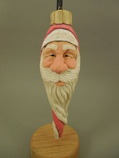 Hand Carved Santa Christmas Ornament by CarvingsbyTony on Etsy, $35.00