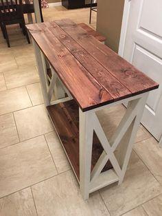 Primitive Red Mahogany Entry Farmhouse table by TreasuredByFamily
