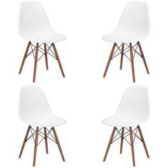Set of 4 - Eames Style Vortex Side Chair Walnut Legs