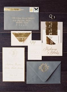 Grey gold wedding invitations