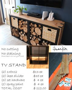 Terrific Images Rustic, TV stand and log wood storage Ideas There is nothing . - Terrific Images Rustic, TV stand and log wood storage Ideas There is nothing Better than a brill - Rustic Tv Stand, Ikea Hack Living Room, Ikea Diy, Furniture Makeover, Wood Storage, Diy Furniture, Ikea Cubes, Ikea Furniture Hacks, Diy Furniture Tv Stand