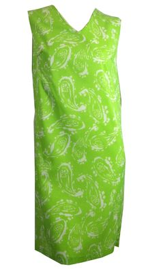 Acid Green and White Paisley Print Nylon Shift Dress circa 1960s Dorothea's Closet Vintage Clothing