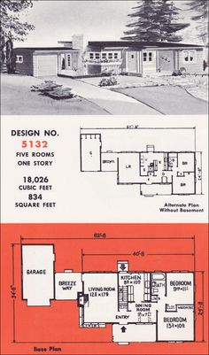 Design No. 5132 by Weyerhauser - Mid Century Modern Home Plans - 1951 Residential Architectural Plans for Small Houses