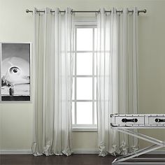 Two Panels Stripe Linen / Cotton Blend Sheer – USD $ 79.99