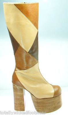 87ae8a2d9202 70 s Platform Chunky Heel Knee Boot Patchwork Brown 6