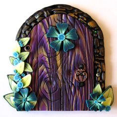 Purple and Teal Fairy Door by Claybykim on Etsy