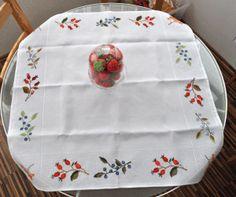 a table-cloth and a pillow - made for autumn Crossstitch, A Table, Autumn, Pillows, Seed Stitch, Cross Stitch, Punto De Cruz, Fall Season, Fall