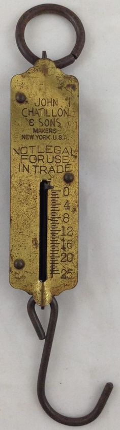 Antique John Chatillon Hanging Scale Brass Front Weighs Up To 25 Lbs New York #JohnChatillonSons