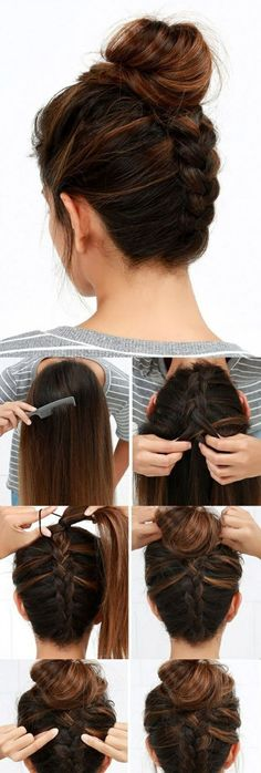 "▷ Ideen, wie Sie effektvolle Hochsteckfrisuren selber machen Updo for the birthday: goes well with our invitations. These are photo cards that you ""personalize"" with your own images. Ponytail Hairstyles, Trendy Hairstyles, Bun Hairstyle, Blonde Hairstyles, Hair Ponytail, Hairstyle Ideas, Hairstyles 2018, Ponytail Easy, Medium Hairstyle"