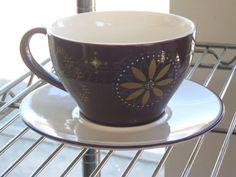2006 Starbucks Coffee Cup & Saucer Purple Gold Star Cup #DH04 #Starbucks