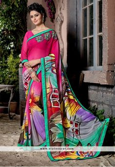 Opulent Multicolor Georgette Printed Saree