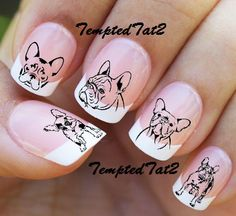French Bulldog Nail Decals by TemptedTat2 on Etsy