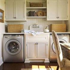Hidden Washer and Dryer - Cottage - laundry room - Sage Design