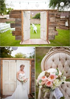 Rustic shabby chic wedding. Would love to have the doors at the beginning of aisle for an outdoor wedding!