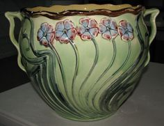 Roseville Pottery Early 1900s RARE FIND Majolica Blended Glaze FLORAL Jardiniere
