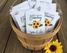 Sunflower Bridesmaid Bouquet, Sunflower Wedding Decorations, Sunflower Party, Sunflower Baby Showers, Sunflower Bouquets, Sunflower Seeds, Sunflower Weddings, Wedding Bouquet, Personalized Baby Shower Favors
