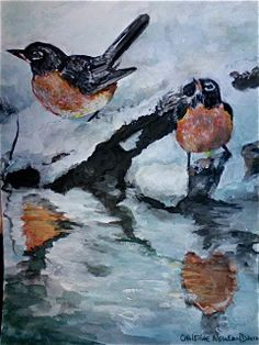 """This is a water colour I call """"Robins in Spring""""."""