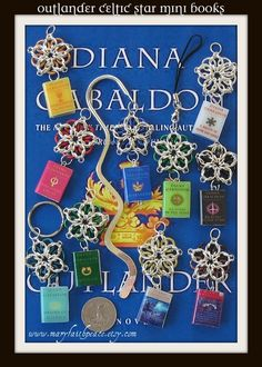 Bookmarks/keychains with mini Diana Gabaldon book pendants. Awesome if you love the Outlander series!