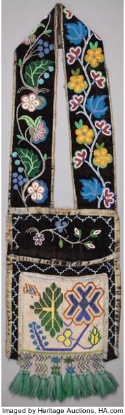 American Indian Art:Beadwork and Quillwork, A CHIPPEWA BEADED CLOTH BANDOLIER BAG. c. 1890. ...