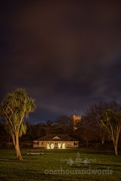 The Kings Pavilion civil wedding ceremony venue in Christchurch at night.  Photography by one thousand words wedding photographers