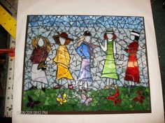 This is such a fun window! Ladies Walking Butterflies - Delphi Stained Glass - My DIY Tips Mosaic Tile Art, Mosaic Crafts, Mosaic Projects, Stained Glass Projects, Stained Glass Patterns, Mosaic Patterns, Mosaic Glass, Mosaic Artwork, Mosaic Mirrors