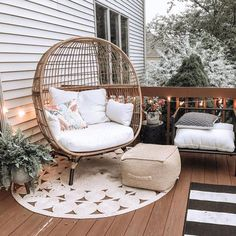 Back Patio, Backyard Patio, Diy Patio, Small Patio, Outdoor Spaces, Outdoor Living, Egg Chair, My New Room, Living Spaces