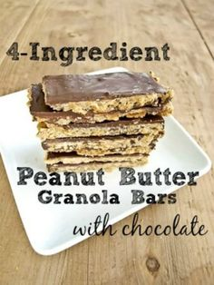 4-ingredient peanut butter granola bars with chocolate {vegan, gluten-free}An easy peasy snack recipe that the kids LOVE. These are candy bars to my kiddos!
