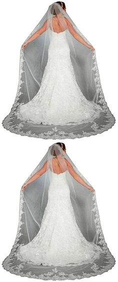 Gracekiki White Ivory Lace Edge Cathedral Length Wedding Bridal Veil+Comb (300 cm, Ivory A)