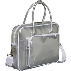 #Business, #IceRed, #LadiesBusiness - Ice Red Shine 2 Compact Glossy Laptop Tote - Silver