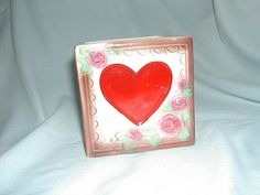 Vintage Valentines Day Planter Heart Square Roses by ThenForNow