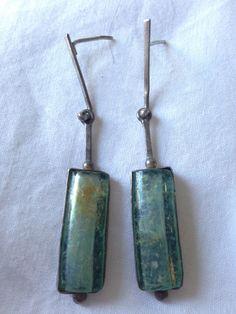 SALE !!!! Stunning Dangle Roman Glass in silver Earrings by MAZANSI on Etsy https://www.etsy.com/listing/113837165/sale-stunning-dangle-roman-glass-in